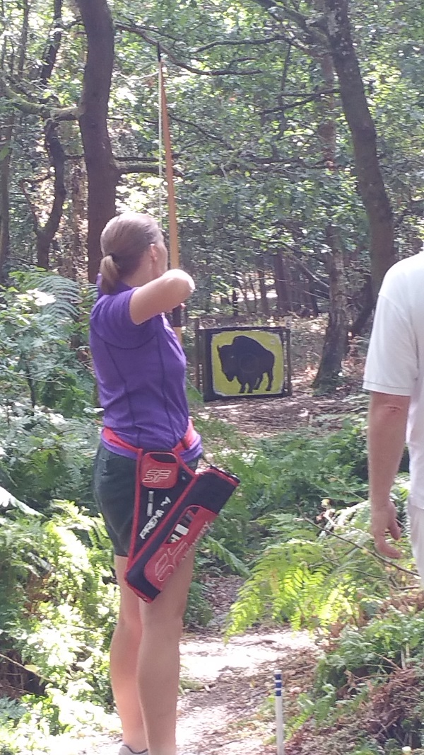 Catherine shoots at a 'Buffalo' [target] roaming the woods of Farnborough
